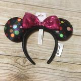 Disney Accessories   Disney Minnie Mouse Rock The Dots Ears Headband   Color: Black/Pink   Size: Os