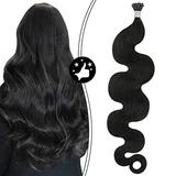 Moresoo Black I Tip Hair Extensions Fusion Hair Extensions 16 Inch I Tip Wavy Hair Extensions Human Hair Color #1B Off Black Real Hair Extensions Remy Stick Tip Hair Extensions 50S/40G 0.8g/s