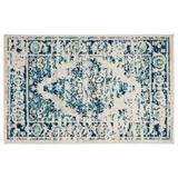 Bungalow Rose Distressed Vintage Persian Oriental Blue Area Rug Polypropylene in White, Size 36.0 H x 24.0 W x 0.36 D in | Wayfair