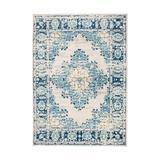 Bungalow Rose Distressed Vintage Persian Oriental Area Rug Polypropylene in Blue, Size 60.0 H x 39.0 W x 0.36 D in | Wayfair