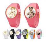 Women Wrist Watch Kids Girls Watch Silica Gel Wristwatch Custom Photo Watch(Pink Full Color)