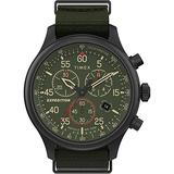 Timex TW2T72800 Men's Expedition Field Chronograph Green Fabric Band Green Dial Watch