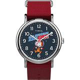 Timex TW2T82600 Unisex Weekender X Space Snoopy 38mm Red Fabric Strap Watch