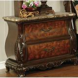 Astoria Grand Crass 2 - Drawer Solid Wood Nightstand in Dark Brown Wood in Brown/Red, Size 29.5 H x 33.0 W x 18.25 D in | Wayfair