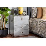 Baxton Studio Serge French Industrial Silver Metal 2-Drawer Accent Storage Chest - Wholesale Interiors JY17B165-Silver-Cabinet