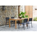 Amazonia Fontana 5 Piece Rectangular Eucalyptus Dining set | Teak Finish Table & Quick-Dry Black Sling Chairs| Durable & Ideal for Outdoors - International Home ORLREC_4VERA BLK_LOT