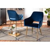 Baxton Studio Germaine Glam & Luxe Navy Blue Velvet Fabric Gold Finished 2-PC Metal Dining Chair Set - Wholesale Interiors DC144-Navy Blue Velvet/Gold-DC