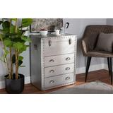 Baxton Studio Serge French Industrial Silver Metal 3-Drawer Accent Storage Cabinet - Wholesale Interiors JY17B168-Silver-Cabinet