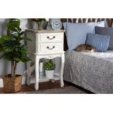 Baxton Studio Amalie Antique French Country Cottage Two-Tone White & Oak Finished 2-Drawer Wood Nightstand - Wholesale Interiors JY17B088-White-NS
