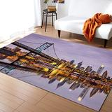 Apartment Large Area Rugs 5' x 7', Throw Carpet Floor Cover Nursery Rugs For Kids, Ben Franklin Bridge And Philadelphia Skyline, Under Sunsets Reflections on Water Modern Kitchen Mat Rugs For Bedroom