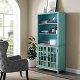 Largo Antique Turquoise Display Cabinet - Linon LG116TRQABU