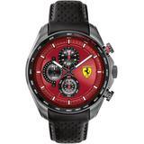Chronograph Speedracer Black Leather Strap Watch 44mm - Black - Ferrari Watches