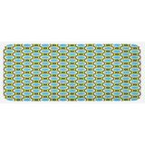 East Urban Home Retro Circles w/ Dots Round Design Elements Vintage Inspirations Yellow Green Black Kitchen Mat Synthetics in Blue | Wayfair