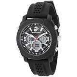 U.S. Marines Men's Analog-Digital Chronograph Black Silicone Strap Watch by Wrist Armor, F1/1003