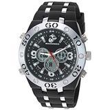 U.S. Marines Men's Analog-Digital Chronograph Silver-Tone and Black Silicone Strap Watch by Wrist Armor, F1/1007