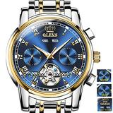 Fashion Men Automatic Watches Sliver Gold Stainless Steel Japan Movement Blue Dial Watch Mechanical Tourbillon Wrist Watch Skeleton Self Winding for Man,Men Day-Date Luxury OLEVS Big Face Wristwatches