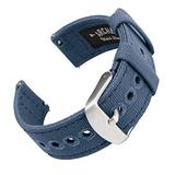 Archer Watch Straps - Canvas Quick Release Replacement Watch Bands (Classic Denim Blue, 22mm)