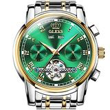 Green Dial Automatic Watch for Men Fashion Self Winding Watches Without Battery,Tourbillon Watch Mechanical Movement Chronograph Big Face Hand Wristwatches Gold Stainless Steel Waterproof OLEVS Watch