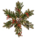 National Tree Company 32in. Frosted Pine Berry Snowflake with Battery Operated LED Lights, Green