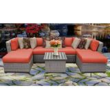 Florence 7 Piece Outdoor Wicker Patio Furniture Set 07a in Tangerine - TK Classics Florence-07A-Tangerine