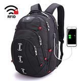 """Swissdigital Pixel Travel Laptop Backpack-Laptops Backpack with USB Charging Port Smart Bag with RFID for Men & Women School Computer Bags Fits 15.6"""" Laptop and Notebook, Black SD-857"""