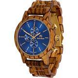 Maui Kool Wooden Chronograph Watch Pukulani Collection for Men Analog Chrono Wood Watch Bamboo Box (U1 - Zebra Wood Blue Face)