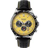 Sekonda Mens Chronograph Watch with Yellow Dial and Black Leather Strap 1395
