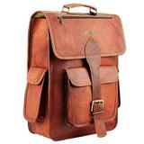HULSH 16 Inch Genuine Leather Backpack for Women and Mens Leather backpack and Leather laptop backpack for Women | Leather backpack for men Perfect mens backpack for daily use Retro backpack Vintage