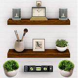 Set of 2 Floating Shelves - Real Wood Mounted Wall Shelf - Kitchen/Bathroom/Bedroom/Bedrooms/Living Room - 24in x 5.5in x 1.5in Hanging Shelf - Paulownia Wood W/Cherry Walnut Finish - Mounts & Level