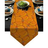 Zadaling Fall Thanksgiving Day Decor Cotton Linen Table Runner Happy Halloween Fall Pumpkin Non-Slip Dining Table Linen Family Dinners Outdoor Parties Wedding Everyday Decorations 13x90 inch