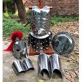 Nautical-Mart Medieval Roman King Leonidas 300 Spartan Helmet W/Red Plume + Muscle Body Armor Cuirass + Shield + Leg Or Arm Guard Silver Halloween Costume SCA LARP