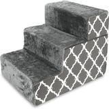 Best Pet Supplies Lattice Print Foldable Foam Cat & Dog Stairs, Dark Gray, Small
