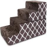 Best Pet Supplies Lattice Print Foldable Foam Cat & Dog Stairs, Chocolate Brown, Large