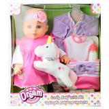 """""""Dream Collection 16"""""""" Lovely Baby Doll with Unicorn, Multicolor"""""""