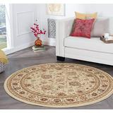 Raleigh Beige 8 Foot Round Area Rug for Living, Bedroom, or Dining Room - Traditional, Floral