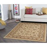 Raleigh Beige 5x7 Rectangle Area Rug for Living, Bedroom, or Dining Room - Traditional, Floral
