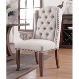 Gracie Oaks Emmalee Tufted Upholstered Wingback Dining Parsons Chair in IvoryWood/Upholstered in Brown/White, Size 42.5 H x 22.5 W x 26.75 D in