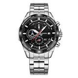 Watch Men's Black Watch Six-pin Multi-Function Watch Calendar Chronograph Waterproof Luminous Steel Strap Quartz Watch (Black Circle - Black)