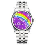 Unique Watch, Watch Silver Stainless Steel Band Watch for Men Ladies Cute Watches for Couples Kids Boys & Girls Personalized Classic Fashion Watch 357.Rainbow Named Purple Pink Multi-Coloured Watch