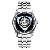 Unique Watch, Watch Silver Stainless Steel Band Watch for Men Ladies Cute Watches for Couples Kids Boys & Girls Personalized Classic Fashion Watch 047.Black Enamel, Rhinestone, Rotary Engine Watch