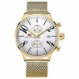 Men's Quartz Watch, Trend Calendar Multi-Functional Steel mesh Watch (Gold-White)