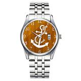 Unique Watch, Watch Silver Stainless Steel Band Watch for Men Ladies Cute Watches for Couples Kids Boys & Girls Personalized Classic Fashion Watch 107.Cool White Anchors Brown Rustic Wood Photo Print