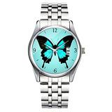Unique Watch, Watch Silver Stainless Steel Band Watch for Men Ladies Cute Watches for Couples Kids Boys & Girls Personalized Classic Fashion Watch 064.Butterfly - Turquoise Blue and Black