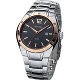 Men's Luxury Business Dress Quartz Analog Stainless Steel Strap with Calendar Wristwatch Silver