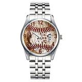 Unique Watch, Watch Silver Stainless Steel Band Watch for Men Ladies Cute Watches for Couples Kids Boys & Girls Personalized Classic Fashion Watch 106.Cool Rustic Baseball Watch in Many Styles