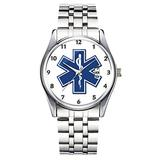 Unique Watch, Watch Silver Stainless Steel Band Watch for Men Ladies Cute Watches for Couples Kids Boys & Girls Personalized Classic Fashion Watch 173.EMS Star of Life