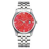 Unique Watch, Watch Silver Stainless Steel Band Watch for Men Ladies Cute Watches for Couples Kids Boys & Girls Personalized Classic Fashion Watch 359.Red and Coral Flowers, Dark red Background