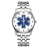 Unique Watch, Watch Silver Stainless Steel Band Watch for Men Ladies Cute Watches for Couples Kids Boys & Girls Personalized Classic Fashion Watch 019.an EMS Star of Life