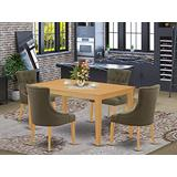 East West Furniture CAFR5-OAK-20 5Pc Dining Set Includes a Rectangle Dinette Table and Four Parson Chairs with Dark Gotham Grey Fabric, Oak Finish