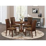 East West Furniture DLIP5-MAH-C 5-Pc Dining Table Set Mahogany Finish- Two 9-inch Drops Leave and Pedestal Legs Modern Dining Table & 4 Slatted Back Wood Dining Chairs